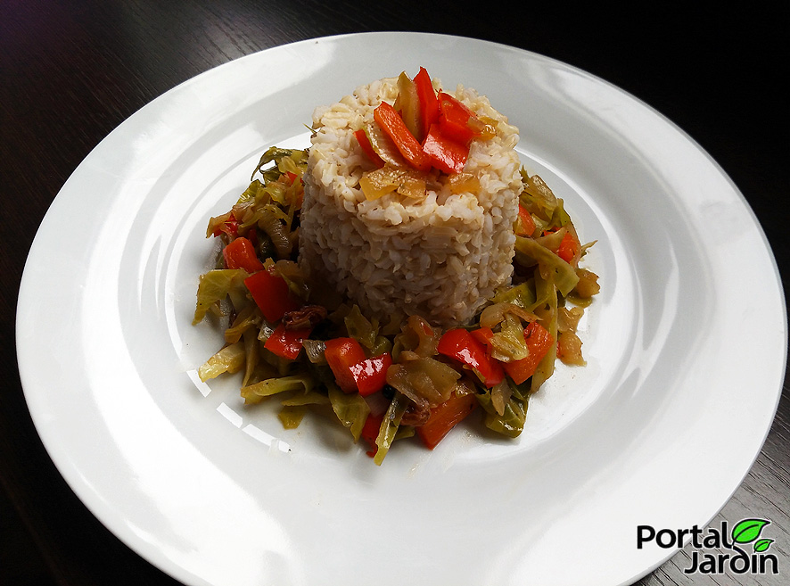 berza con arroz integral