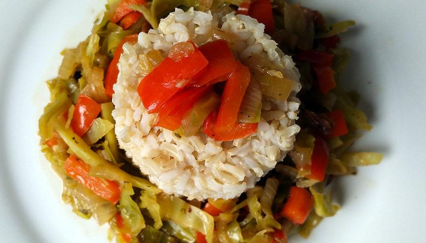 Berza con arroz integral y algo más